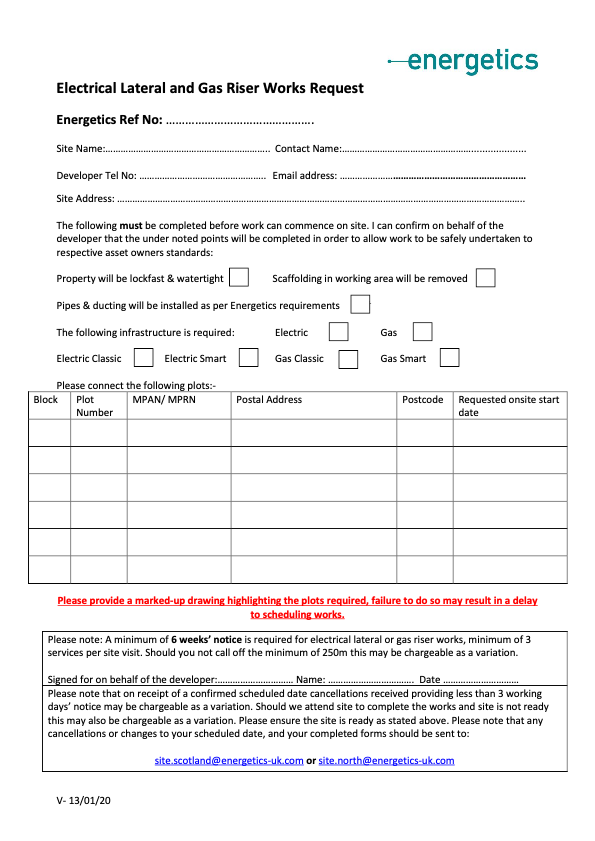 Electric Lateral and Gas Riser Works Request Form