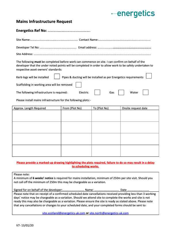 Mains Infrastructure Request Form