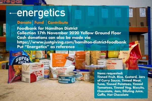Energetics Foodbank Donations