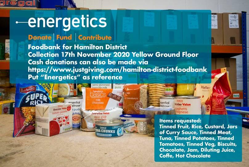 Energetics Foodbank Donations
